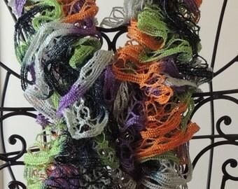 Orange, Black, Purple, Green & Silver Halloween Ruffled Scarf