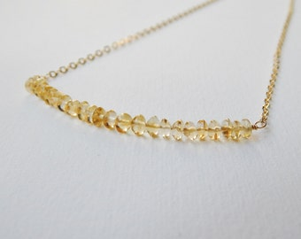 Citrine Bar Necklace - Gold Filled Beaded Necklace Beadwork Necklace with Citrine Pebbles Line Necklace