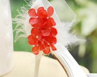 Shoe Clips Tangerine Orange & Ivory Hydrangeas. Couture Bridesmaid Bride. More Lavender Celadon Pink Fuchsia Red Green. Feather Tulle Pearls