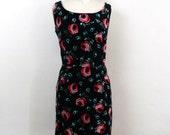 Vintage Black Velvet  Dress ... Mini Wiggle Dress ..  Floral LBD ... Size Large