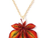 Horse Chestnut Leaf Pendant Necklace - Fall / Autumn Leaves, Sycamore Tree, Autumnal Woodland Colours - Green, Brown