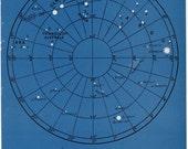 1946 astronomy star map original vintage celestial print - map 1 -
