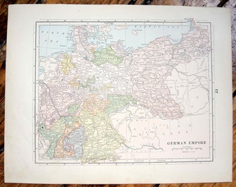 1887 german empire or prussia original antique map of the the world