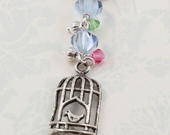Bookmark Charm, Bird cage Beaded Bookmark, Shepherds Hook, Gifts for Bookworms, Silver Birdcage Book Charm, Lavender Purple Stocking Stuffer