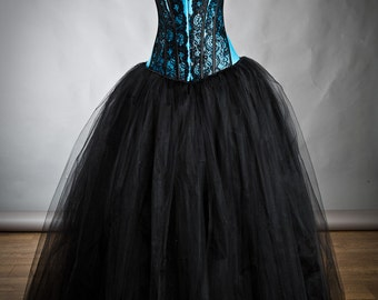 Size medium turquoise and black burlesque tulle and lace prom dress Ready to Ship