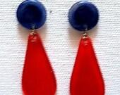 Blue red earrings