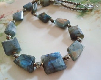 Faceted Labradorite Nugget and Pyrite Necklace with Brass and Sterling
