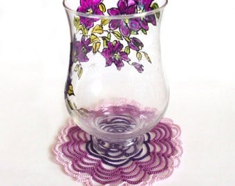 Tatted Lace Doily , Purple Spiral - Cathy