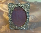 Seagull Flower Pewter Frame Marked 1985 5.5 x 4.5 inches, Oval