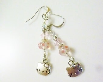 Hello Kitty Charm and Crystal Dangle Earrings