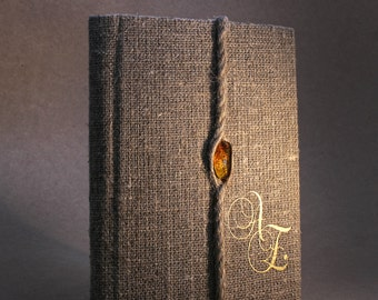 Exclusive Genuine Baltic amber on Wedding Guest Book / Wedding Book / Rustic Wedding Guest Book /  Linen Guest Book