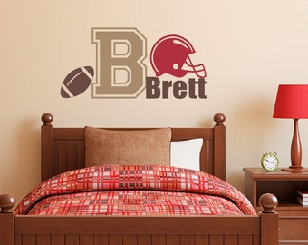 Football Wall Decal with Initial & Name - Sports Wall Decal - Boy Bedroom Wall Art - Medium