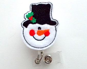 Snowman with top hat - Retractable ID Felt Badge Holder - Holiday Badge Reel - Nurses Badge Holder - Nurse Badge - Teacher Badge
