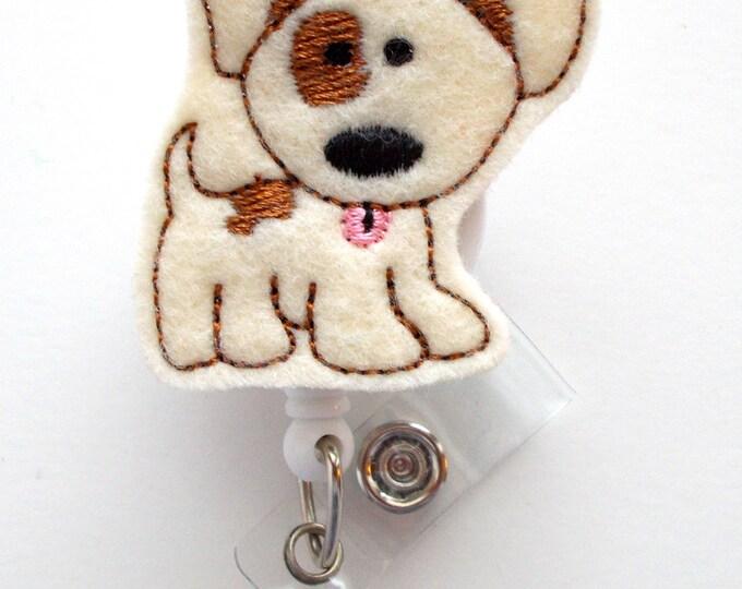 Patch the Puppy  - Name Badge Holder - Cute Badge Reel - Nurse Badge Holder - Nursing Badge Clip - Teacher Badge Reel