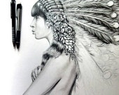 Native American-Illustration- Black and white- 8 X10 signed print- woman portrait- feathers
