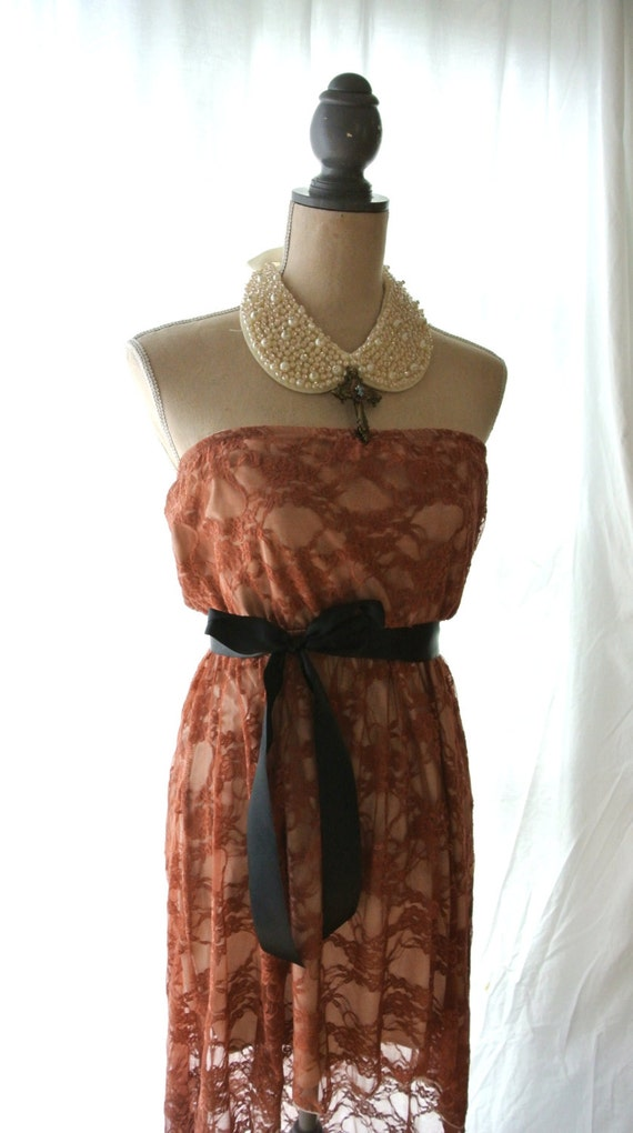 Easter Dresses,  Lace dress, high low strapless party dress, romantic rustic brown, country clothes, altered clothes, true rebel clothing