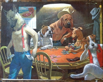 GAMBLING DOGS Humorous Poker Game vintage Poster  4 Dogs playing Poker in a smoky room. KITSCH man cave art
