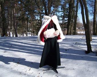 27 inch Bridal Cape Claret / Ivory Satin with Fur Trim Wedding Cloak Handmade in USA