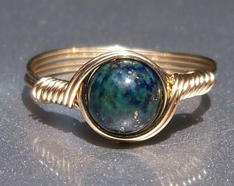 Chrysocolla Azurite Ring 14k Gold Filled Custom Sized Wire Wrapped Gemstone Ring