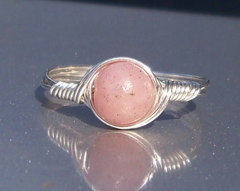Pink Peruvian Opal Ring,  Argentium Sterling Silver Ring,  Wire Wrapped Gemstone Ring