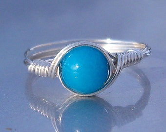 Blue Quartz Ring, Argentium Sterling Silver Ring, Wire Wrapped Stone Ring, Custom Sized Ring