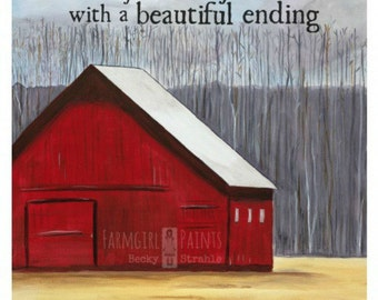 FARMGIRL PAINTS PRINT by Becky Strahle - In Me Your Story is Written - Red Barn