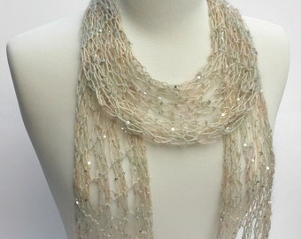 Silk & Mohair Scarf-  Hand Knit/  Beaded/ Sequins/ Champagne/ Sea Mist