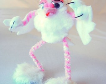 Furry Toed Monster Pigeon Figurine, Cartoon Kitschy Pink and White Mutant Bird, 50s 60s Campy Movie