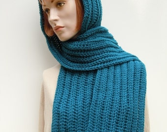 Hooded Scarf - Teal Pixie Hood - Scoodie - Hooded Scarf - Hat and Scarf - Crochet