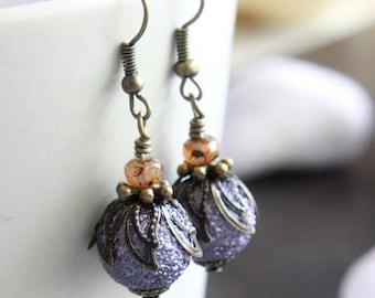 Purple Pearl Glass Bead Earrings - A.886