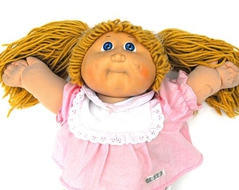 1984 Cabbage Patch Kids CPK Butterscotch Blonde Hair Double Ponies Baby Doll Blue Eyed Retro Xavier Roberts Collectible Toy Coleco Wardrobe