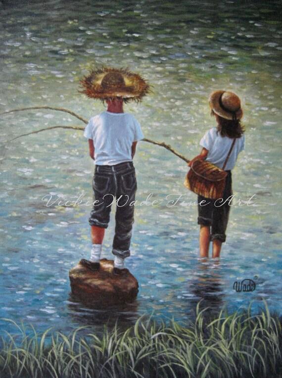 Boy and Girl Fishing Art Print, fishing wall art brother sister fishing, childrens wall art country kids, blue, green, Vickie Wade Art