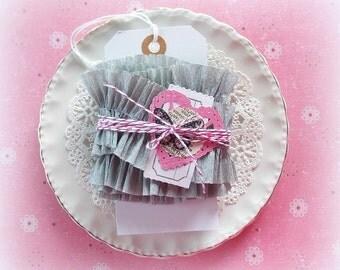 Ruffled Vintage Crepe Paper Garland  / Light Gray / Crepe Ruffles / Party Decor / Crepe Garland