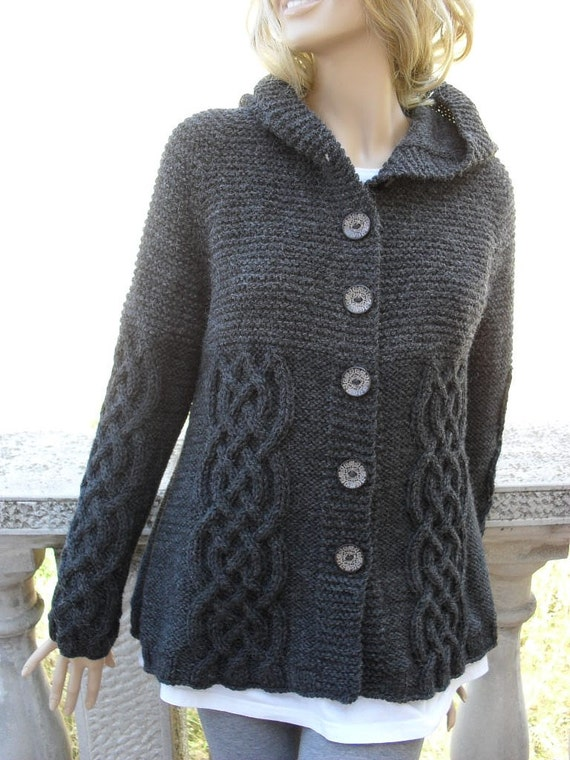 Beautiful Knit Sweater Womens Cable Knit Jacket Cardigan Dark Grey VF05
