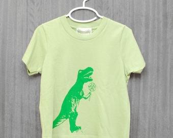 T-Rex, Dinosaur Shirt, funny kids, Organic, Green, Etsykids team, T Rex shirt, Tyrannosaurus Rex, size 4, size 8