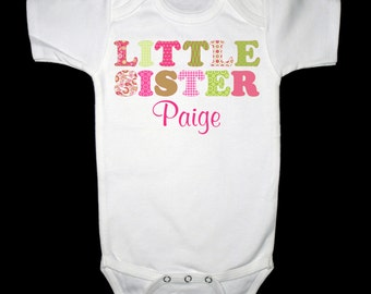 Adorable Green & Pink Little Sister Shirt - Personalized with ANY name