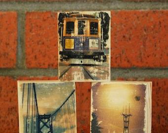 San Francisco LandmarksTrio - Mini Distressed Photo Transfers on Wood