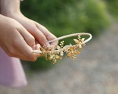 Brass Flower and Pearls - Bridal, Special Occasion, or Everyday Headband, Crown, Boho Headpiece