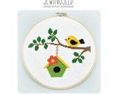Bird on a Branch Cross Stitch Pattern Instant Download