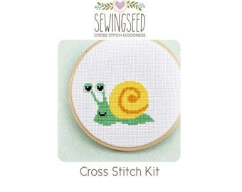 Snail Cross Stitch Kit, DIY Kit, Embroidery Kit, Easy Kit, Perfect for Children Age 10 and Up, Beginner Kit