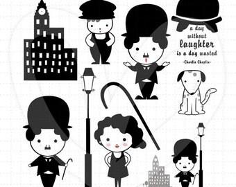 Charlie Chaplin Clip Art Set  ( Movie Inspired )  D13 002