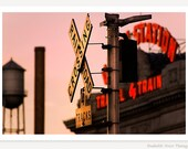 Travel By Train - Denver Union Station Photograph - Neon Sign Photo - Train Station - Train Art - Travel Photography