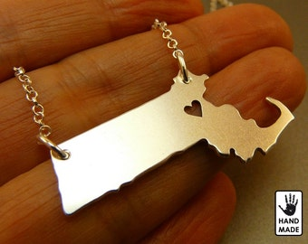 MASSACHUSETTS State Map Handmade Personalized Sterling Silver .925 Necklace in a gift box