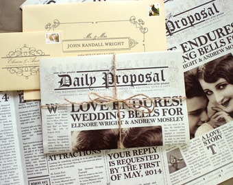The Daily Proposal - Vintage Newspaper Invitation, SaveDate, Program - SAMPLE ONLY (Price is not full order per unit price, see description)