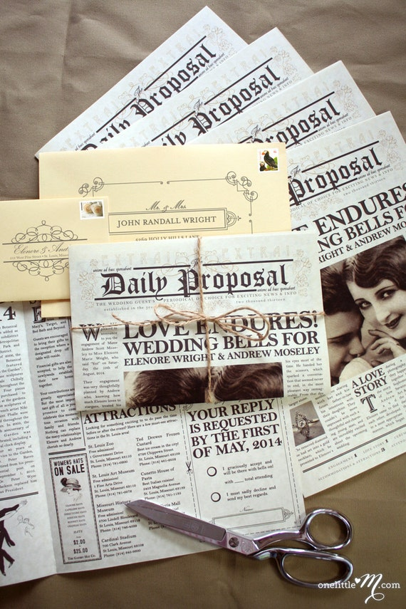 the daily proposal vintage newspaper invitation savedate