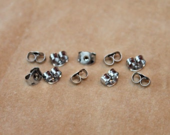 Hypoallergenic Surgical Steel Ear Nut Post Earring Backs - 5 pairs