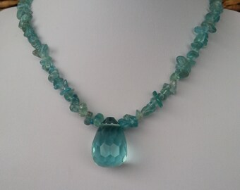 Heavenly Aquamarine gemstone necklace with large Faceted Crystal tear drop pendant