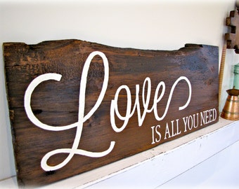 Reclaimed Barn Wood Sign- Love Is All You Need- Planked Typography Sign-100 year old Barn Wood Wall Decor