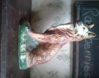 """Big old chalkware collie dog marked """"Lassie"""""""
