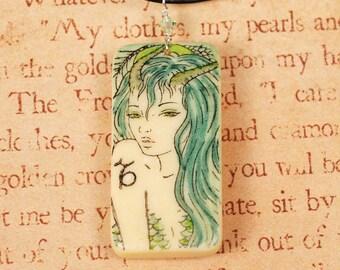 Capricorn Domino Necklace - Zodiac Necklace